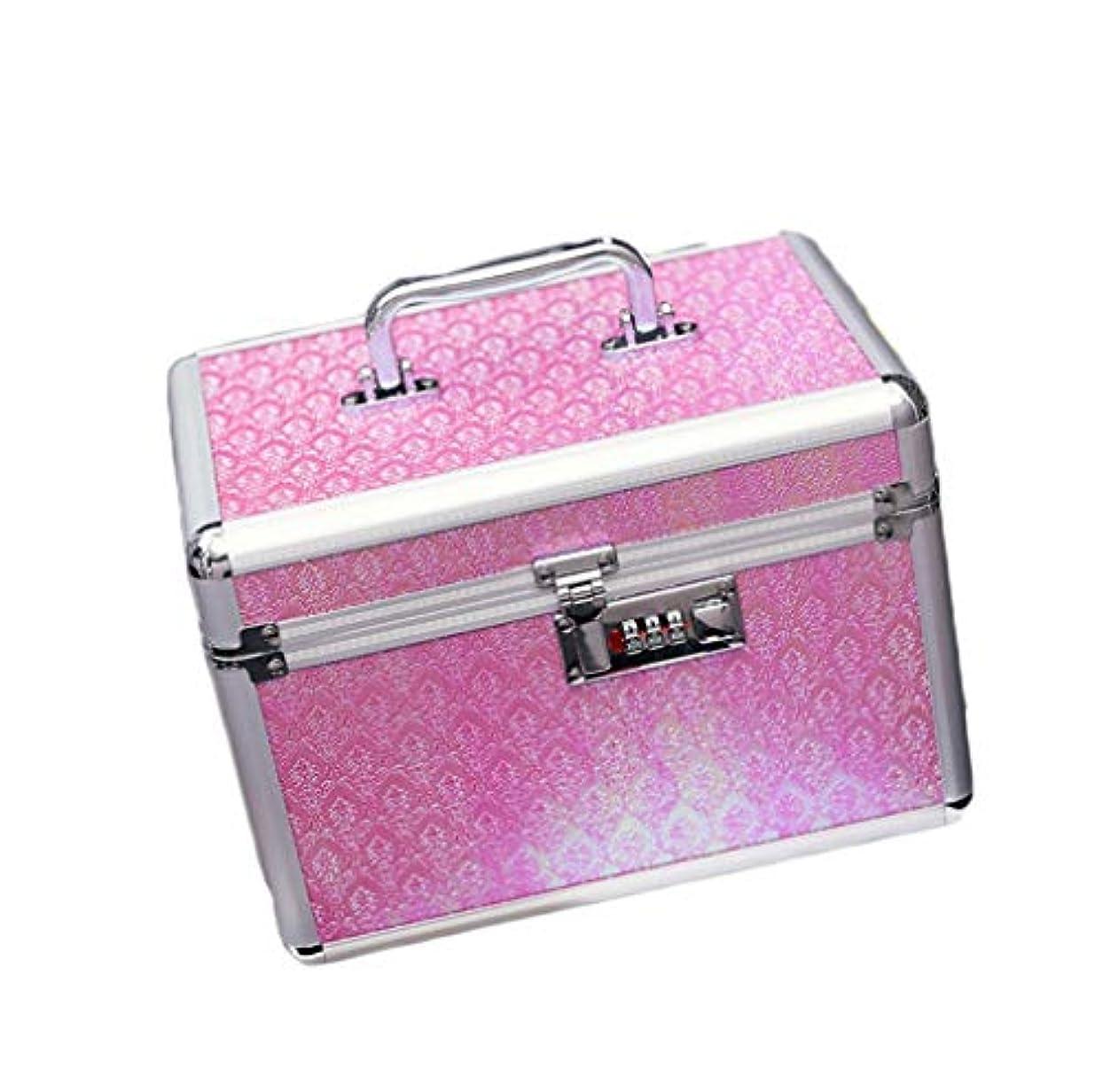 プログラム歌手突然コスメボックス メイクボックス トレンチケース 鏡付き かわいい 収納ケース ビューティー 用品 化粧品入れ ネイル 25.5*17.5*17 小物入れ シルバー ピンク ベージュ 大容量 メイクボックス 鍵付き 収納
