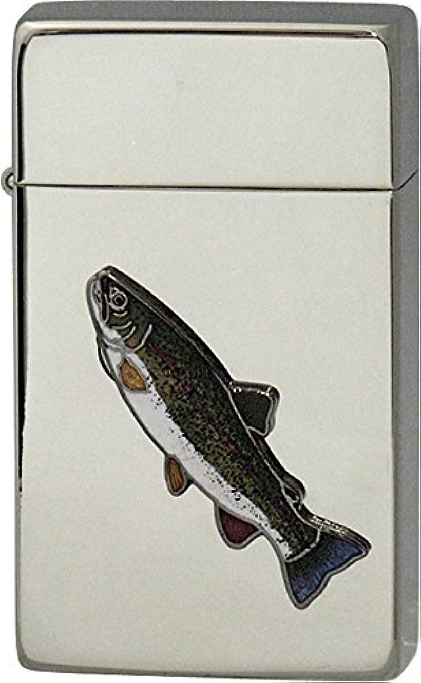 浸漬処方する微弱SAROME(サロメ) ガス ライター SRM 釣り 魚 シリーズ ニジマス シルバー 700193