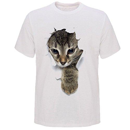 (RONGUI) Tシャツ 猫 おもしろ トリックアート カジュアル シンプル ブラックネコ (XL, NO.1)