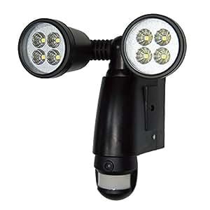 STYLED 録画機能付きセンサーライト LED 900lm AC電源 動画・静止画撮影 AUDIO MODE 防まつ型(8GBSDカード、L形クランプ付属)