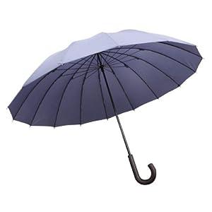 紳士傘 16本骨グラスファイバー ネイビー