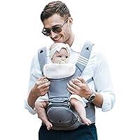 【ベビーアムール】Bebamour 抱っこひも 新生児 6way ベビーキャリア たためるヒップシート 3D低反発座面 負担軽減 前向き おんぶ 快適 (グレー)