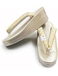 【日本製R芯草履】【やや金がかったシルバー系 / 白地に金系】Sサイズ 21.5-22.5cm 礼装 着物