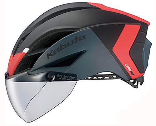 OGK KABUTO(オージーケーカブト) AERO-R1(エアロR1) 専用シールド付 エアロヘルメット [G-2 マットブラックレッド L/XL]