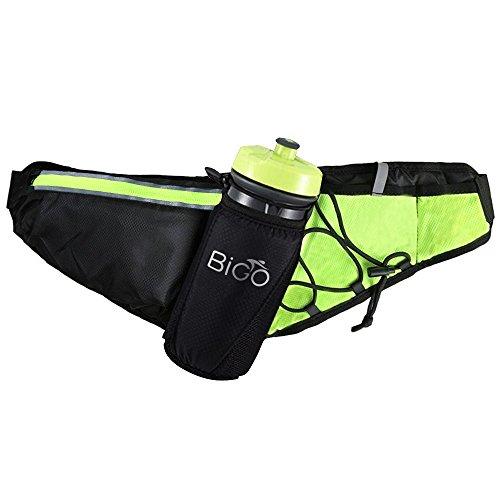 BIGO ランニングポーチ ペットボトル ポーチ 防水 反射ストライプ付き 安全 多機能 ウェスト バッグ 軽量 約68~135センチ 伸縮可能 男女兼用