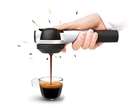 小型エスプレッソマシン Handpresso hybrid(ハンドプレッソハイブリッド)ホワイト - カフェポッド・コーヒー粉抽出可能 電気不要 - アウトドア・オフィス