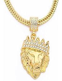 Lucaso クラウン ダイヤモンド クラウン ライオン ヘッド ヒップホップ ネックレス ギフト 誕生日 記念日 ゴールド