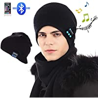 Bluetooth Beanie, Bluetooth Hat, Wireless V5.0 Headphones Beanie Winter Warm Washable Knit Cap Music Hat with Stereo Speakers Fit for Outdoor Sports, Skiing,Running, Skating, Unique Christmas Tech Gifts for Teen Young Boys Girls Men