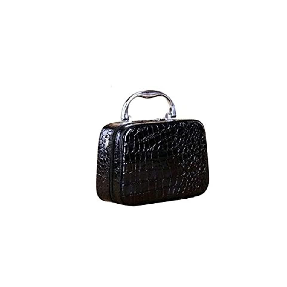 リップ社会科コンパスMakeupAcc レトロな石紋化粧ボックス ハンドバッグ 収納ボックス PU革 ストラップ付き 鏡付き (黒い) [並行輸入品]