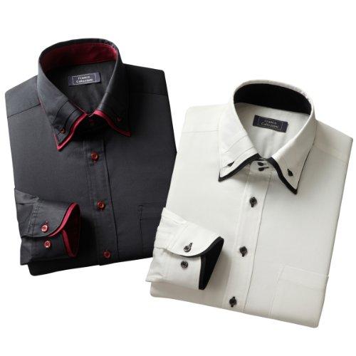 (フランコ コレツィオーニ)Franco Collezioni 二重衿インタックドレスシャツ2枚組 50260 50260  ホワイト ブラック S