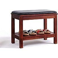 靴のスツールのソリッドウッドシンプルな靴のラックのスツール輸入オークレザーパッドの摩耗靴ベンチ多機能ラック (色 : B, サイズ さいず : 600 * 350 * 450mm)