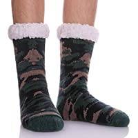 SDBING Mens Super Soft Warm Cozy Fuzzy Fluffy Thick Heavy Fleece-lined Winter Christmas gift With Grips Slipper socks