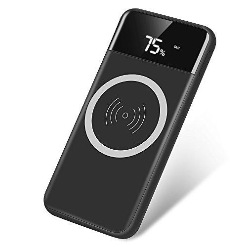 モバイルバッテリー ワイヤレス 充電 Qi 10000mAh 大容量 軽量 2USBポート 急速充電 スタンド機能付 iPhone X / iPhone8 Plus/ Galaxy Note 8 / Galaxy S6 S7 / Galaxy S8 Plus など対応 YURI-shop (10000mAh, ブラック)