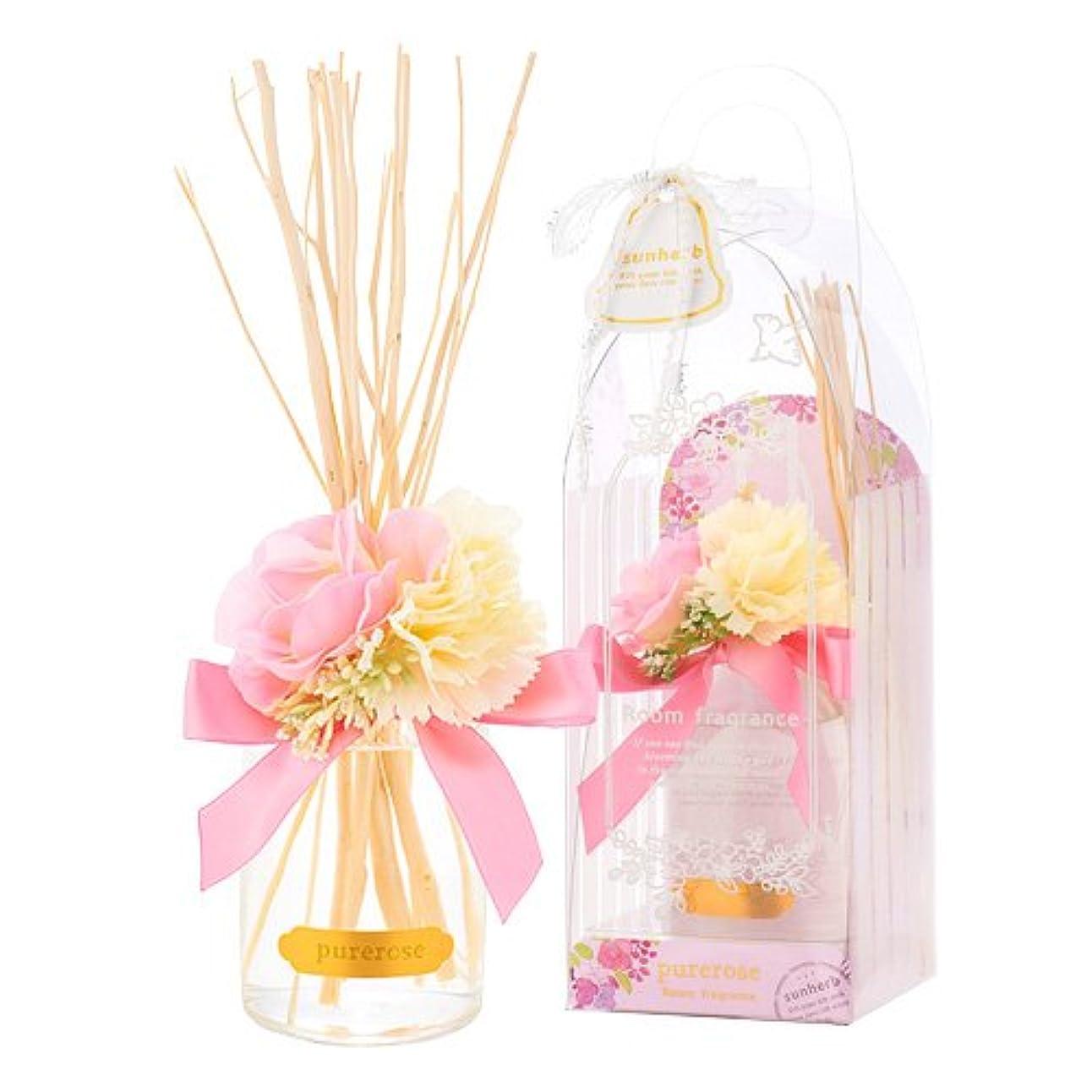 和糸に対処するサンハーブ ルームフレグランスフラワー ピュアローズ 100ml(芳香剤 花かざり付 うっとり幸せなばらの香り)