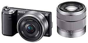 ソニー SONY ミラーレス一眼 α NEX-5N ダブルレンズキット E 16mm F2.8+E 18-55mm F3.5-5.6 OSS付属 ブラック NEX-5ND/B