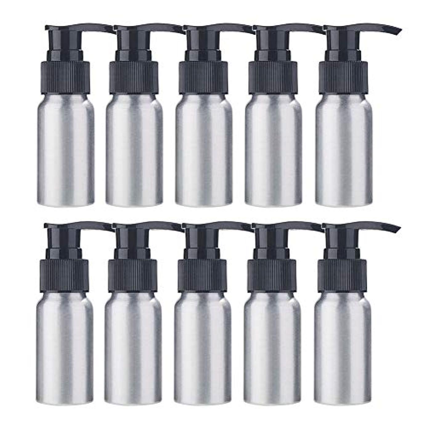 読む植物学者腐敗したBENECREAT 10個セット30mlポンプアルミボトル 空ボトル 防錆 軽量 化粧品 クリーム 小分け 詰め替え 黒いポンプ
