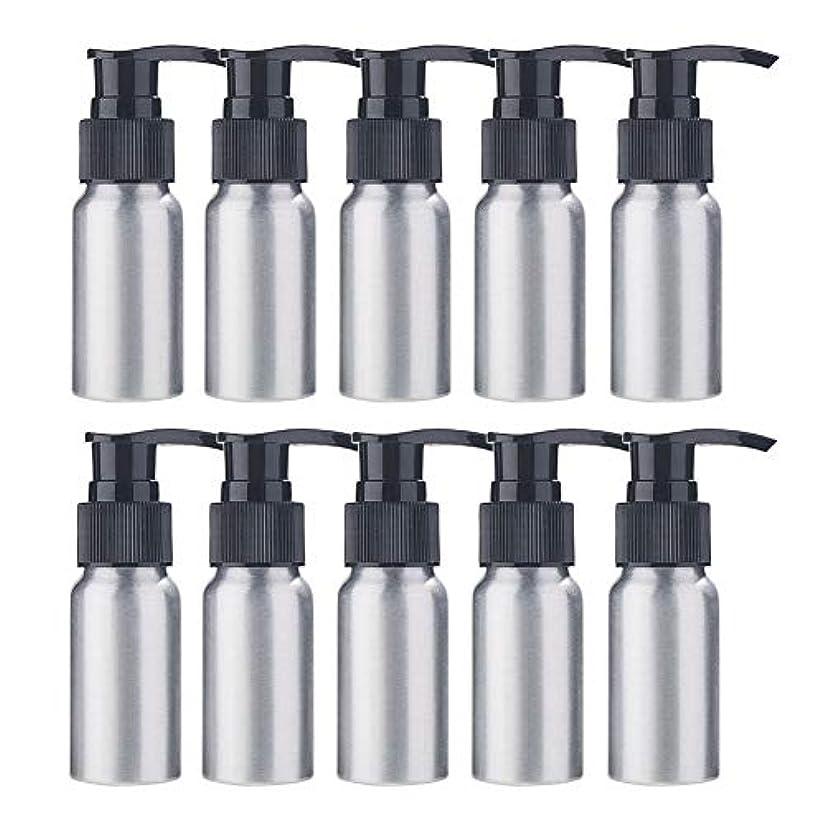 BENECREAT 10個セット30mlポンプアルミボトル 空ボトル 防錆 軽量 化粧品 クリーム 小分け 詰め替え 黒いポンプ