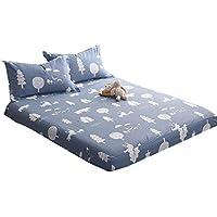 ZHIYUAN 100%綿のベッドシーツと2つの枕カバーをセット、セミダブル、キツネ
