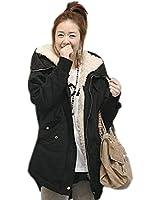 (ベルク)VELUC レディース モッズコート ジャケット ブルゾン 上着 アウター ミリタリー フェイクレザー フード  袖切り替え ボア 大きいサイズ カジュアル 大人可愛い ブラック,カーキ M,L,XL,XXL ~ オリジナルメッセージカードセット ~
