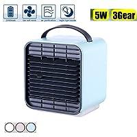 エアコンクーラーミニパーソナルスペースエアコンファンマイナスイオンポータブルUSB充電式ナイトライト多機能加湿浄化,Blue
