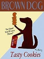 ブラウン犬Tasty Cookieアートポスター印刷by Ken Bailey、8x 10