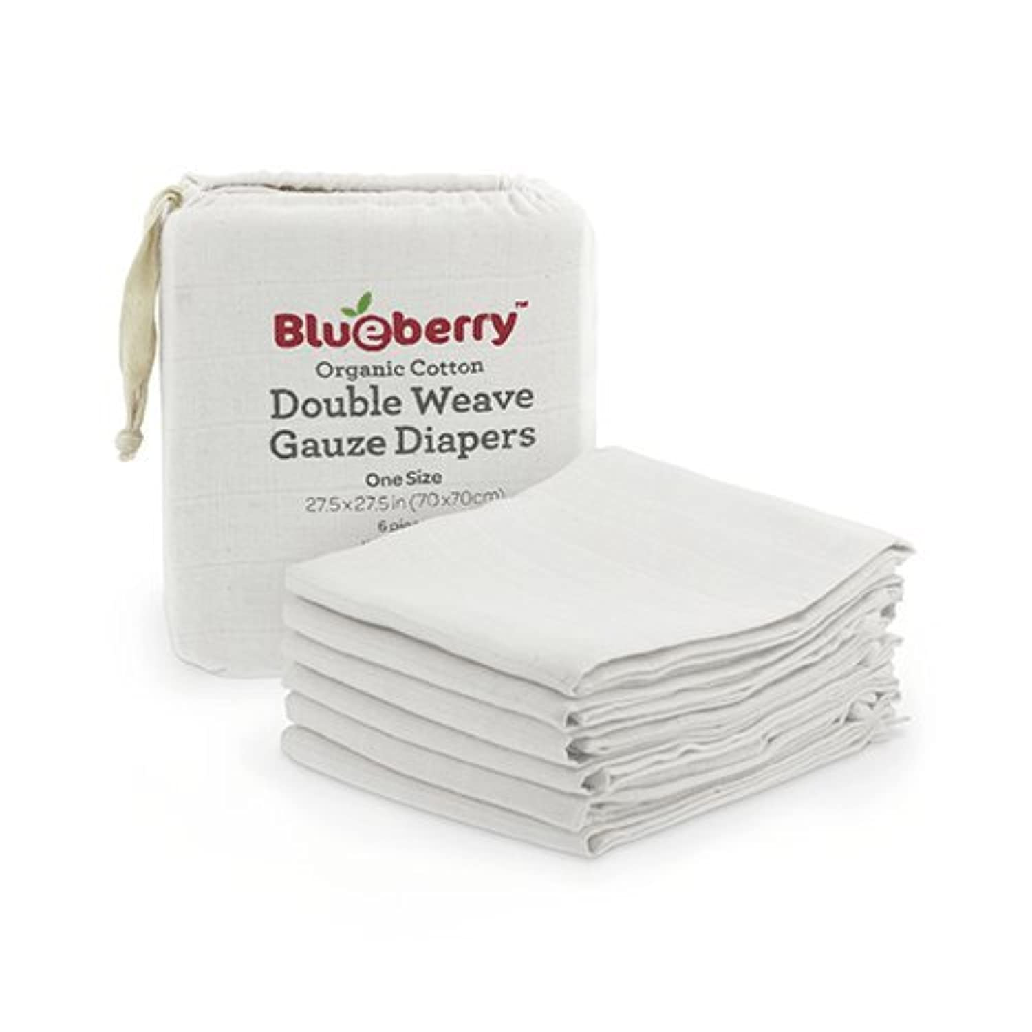 Blueberry Organic Gauze Diapers - 6 Pack White by Blueberry [並行輸入品]