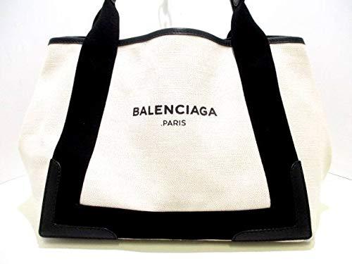 (バレンシアガ)BALENCIAGA トートバッグ ネイビーカバS アイボリー×黒 339933 【中古】