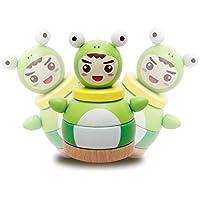 KEANER 新生児 乳児 ロールポリ おもちゃ カートゥーン カエル 王子 幼児 組み立てブロック タンブラー 教育玩具 子供 お祭りギフト (グリーン)