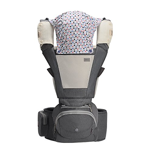 Bebamour Baby Carrier Ergonomics Foldable and Portable Hipseat for Infant &Toddler All Seasons (Grey)