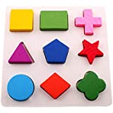JYSPEN Wooden Geometric Shapes Sorting Math Montessori Puzzle Preschool Learning Educational Game Baby Toddler Toys for Children