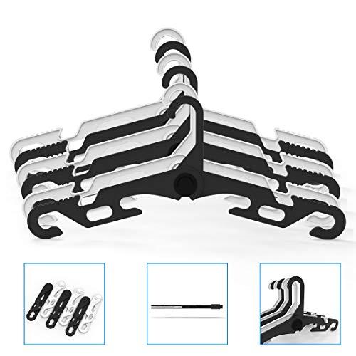 ポータブル折りたたみハンガー、家族、旅行、車、キャンプ用の乾燥ラック (3黒+ 3白)