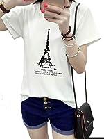 [アズルテ] 半袖 Tシャツ レディースファッション エッフェル塔 ロゴ プリント L~XXL 大きいサイズ おもしろ tシャツ パリ XXL ホワイト