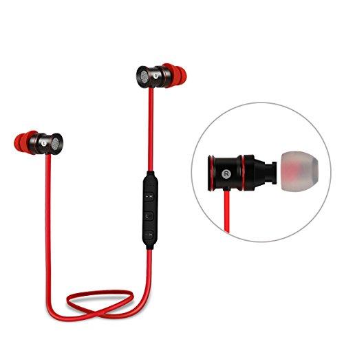 EC Technology ワイヤレス イヤホン Bluetooth4.1 スポーツイヤホン 高音質 ノイズキャンセリング搭載 磁気吸引式 ジョギングに最適 iPhone/iPad/Android Bluetooth搭載デバイス対応