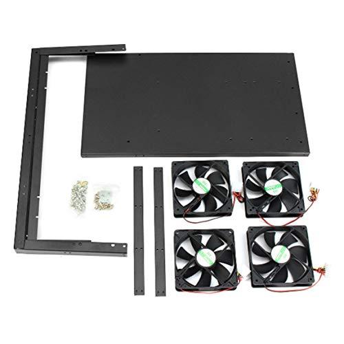 6個のグラフィックカードGPUマイニングリグアルミニウムケース(4個の12cmファン付き)ビットコインマイニングケースキット用ETH ZECのオープンエアフレーム
