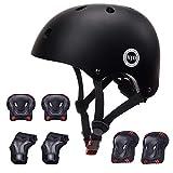 XJD 自転車 ヘルメット こども用 キッズプロテクターセット 調節可能 超軽量 高剛性 通気性 自転車 サイクリング 保護用 巾着袋付き (ブラック, S:48~54cm)
