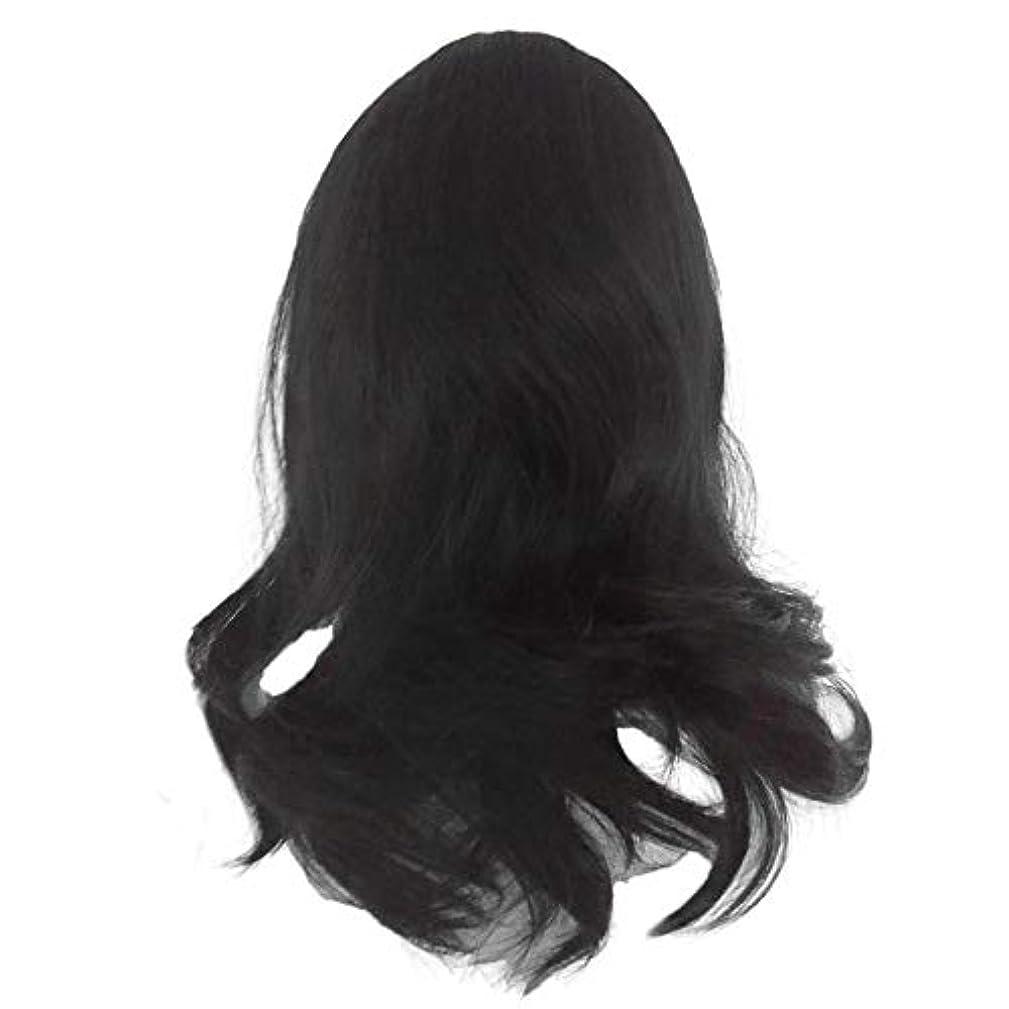 バック悪化させる新鮮な黒の長い巻き毛のかつら高温シルク天然かつら
