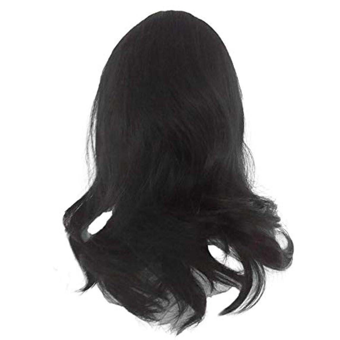 繁殖振り返る生じる黒の長い巻き毛のかつら高温シルク天然かつら