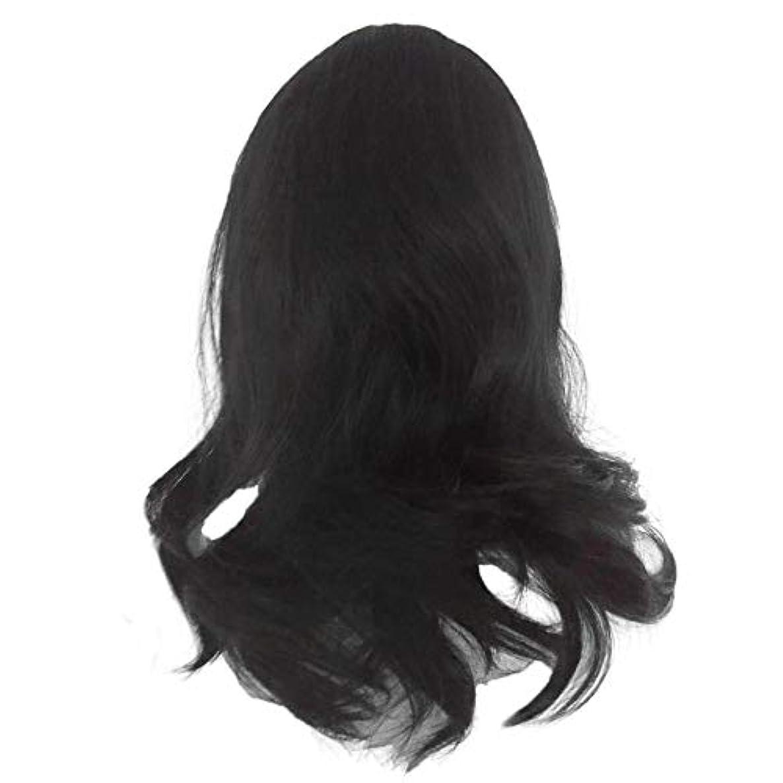 に同意する遺体安置所対黒の長い巻き毛のかつら高温シルク天然かつら