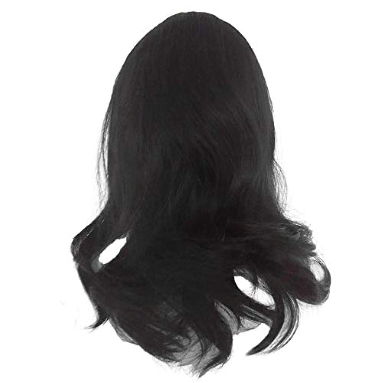 ピルファー類人猿偉業黒の長い巻き毛のかつら高温シルク天然かつら
