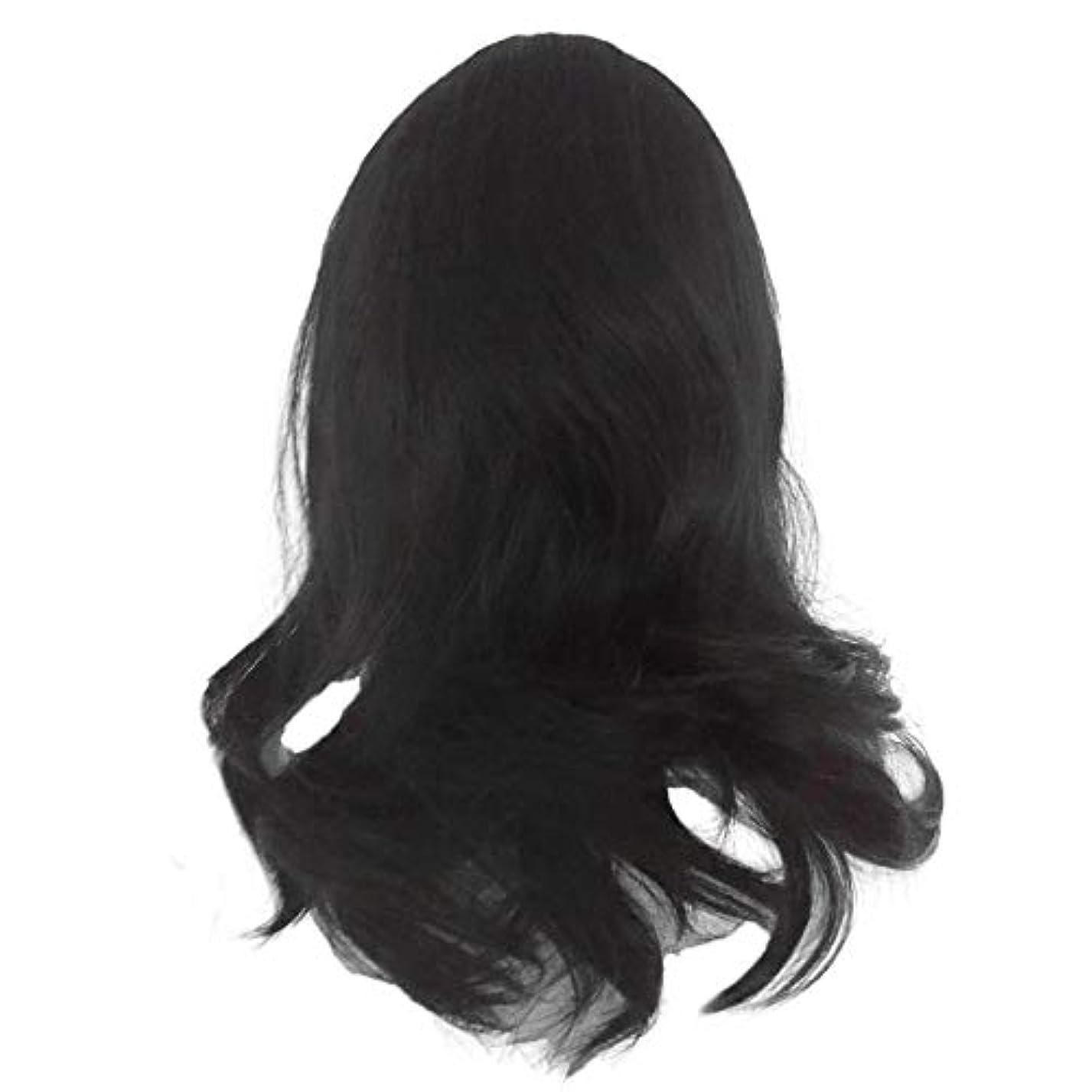 旅行者本会議教え黒の長い巻き毛のかつら高温シルク天然かつら