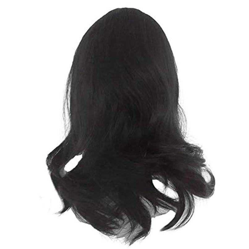 とげのある従来のスキーム黒の長い巻き毛のかつら高温シルク天然かつら