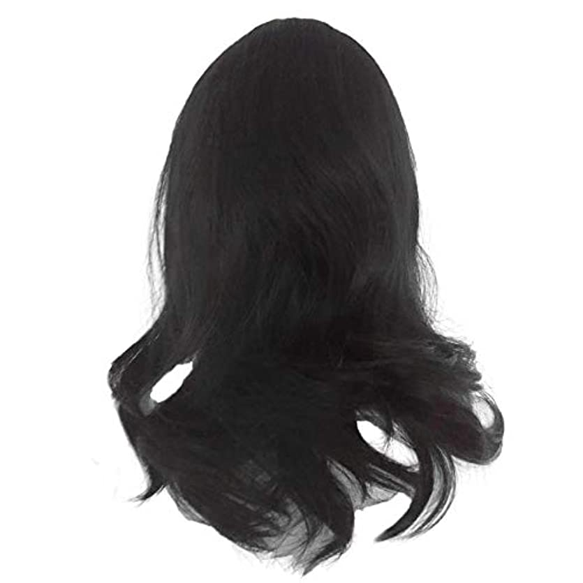 黒の長い巻き毛のかつら高温シルク天然かつら