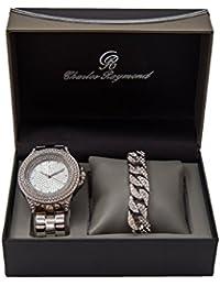 ヒップホップの4行Bling On Watchトリム。シルバーMens Watch with Ice 'dアウトキューバブレスレットセット–8716b silvercuban
