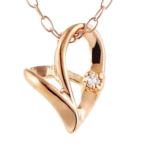 ネックレス ピンクゴールド ダイヤモンド ハート ペンダント プレゼント ギフト レディース 女性 ジュエリー アクセサリー SUEHIRO