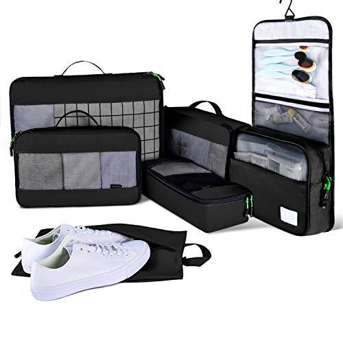 JESWOトラベルポーチ 6点セットアレンジケース旅行にも便利なグッズパッキングバッグ 衣類収納(S・M・Lサイズ)・靴バッグ・洗面用具入れ インナーバッグ 軽量 ナイロン スーツケースの整理に大活躍 パッキングオーガナイザー
