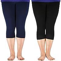 Zando Women's Ultra Cropped Leggings Elastic Cool 3/4 Length Yoga Pants 2Xl