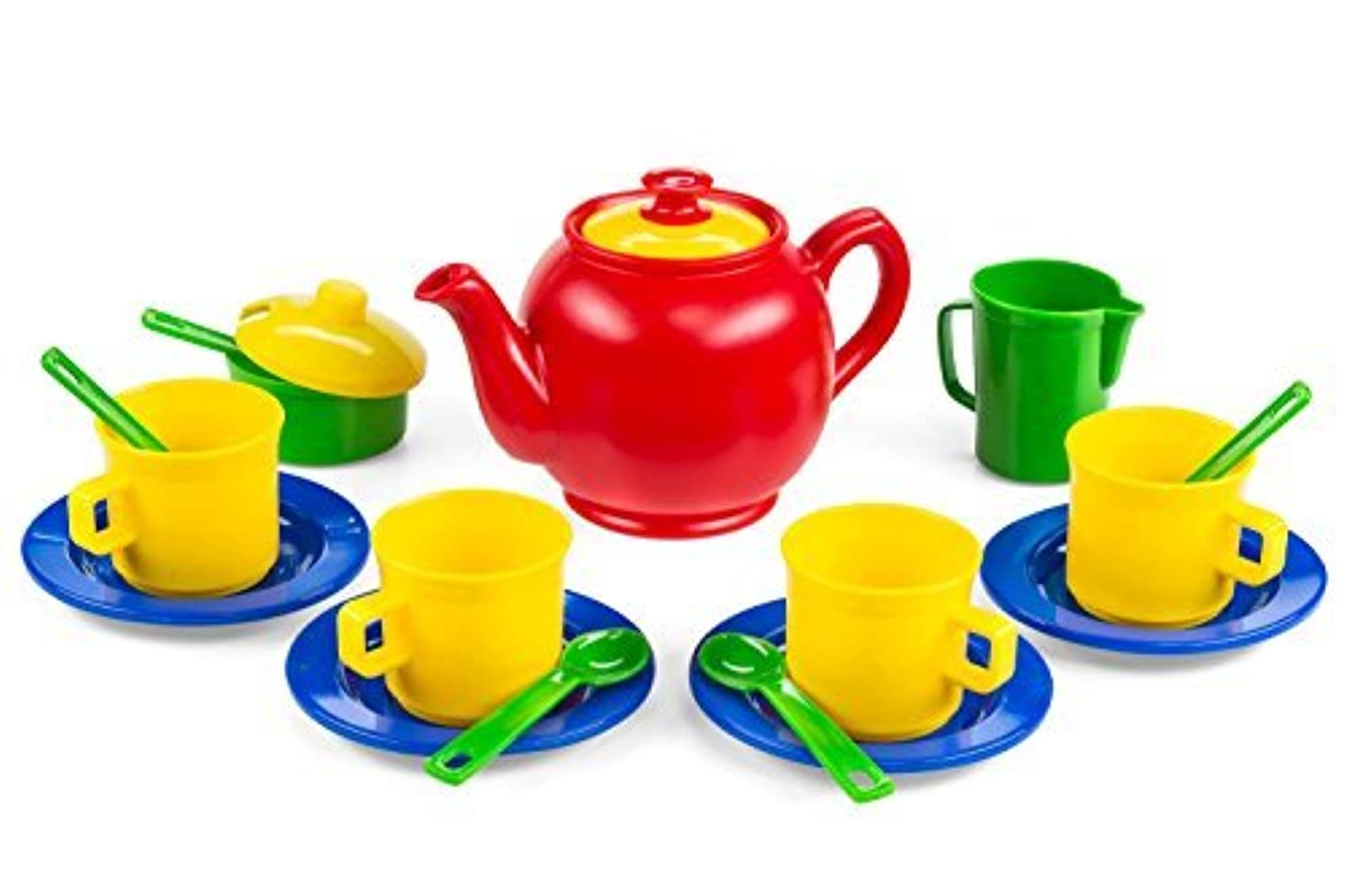 Kidzlane Play Tea Set, 16 Durable Plastic Pieces, Safe and BPA Free for Children's Tea Party and Fun [並行輸入品]