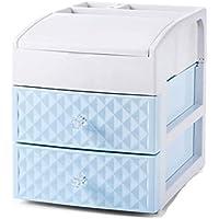 WTL かご?バスケット 家庭用プラスチック引き出し式引き出し式棚棚収納ラックデスクトップ化粧箱収納箱 (色 : 青)