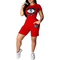 Womens Short Sleeve Shirt Shorts Print O-Neck 2 Piece Outfit Tracksuits