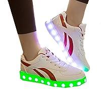 光るスニーカー 男女兼用 防水仕様 LED 靴 シューズ USB充電可能(レッド 24.0cm(38))